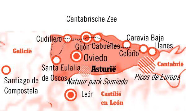 Kaart Asturie Fly drive Casona en Casona