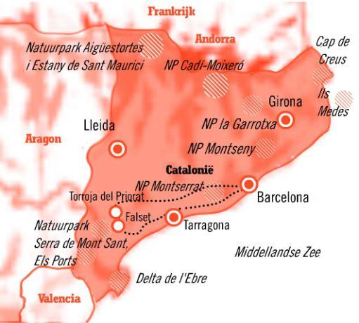 Kaart Fly Drive 8 dagen bruisend Barcelona en de Priorat