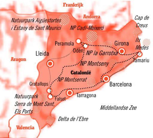 Kaart Catalonie 15 dagen cultuur en natuur reis