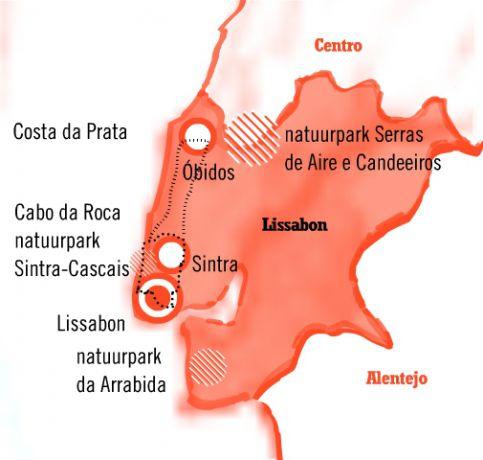 Kaart fly drive Portugal Lissabon-Sintra of Obidos