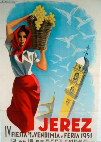 Oude poster van de oogstfeesten in Jerez