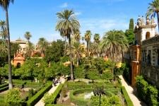 De tuinen van het Alcázar in Sevilla