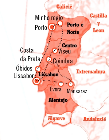 Kaart Fly drive Portugal Cultuur en natuurroute