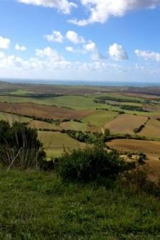 Het groene en glooiende achterland van El Palmar en Zahora