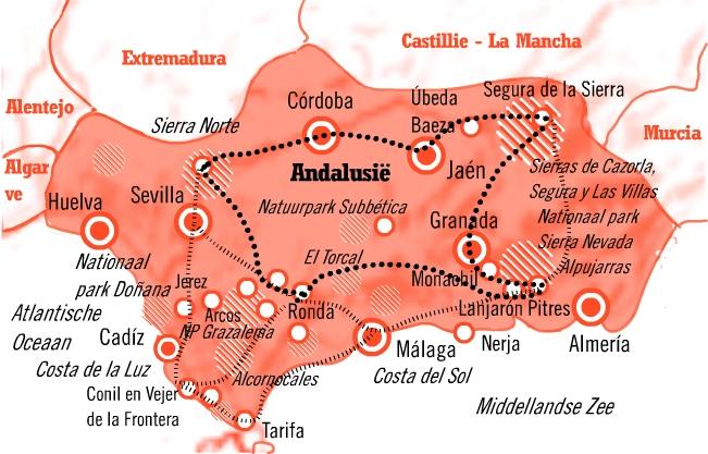 Kaart fly drive Andalusië rondreis 15 dagen natuur&cultuur